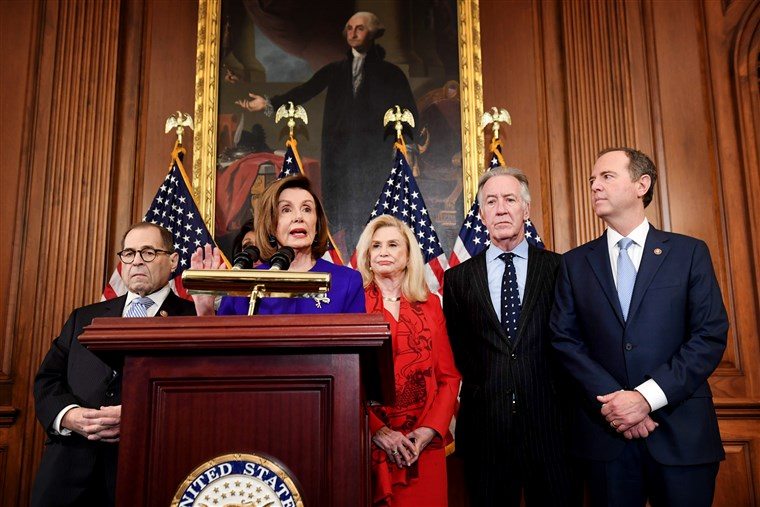 House Speaker Nancy Pelosi holds a press conference with other ranking Democrats to unveil articles of impeachment against President Donald Trump at the Capitol on Dec. 10, 2019.Saul Loeb / AFP - Getty Images